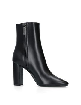 Women's Black Leather Loulou Ankle Boots 95 by Saint Laurent
