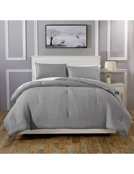 Crinkle 3 Piece Comforter Full/Queen  Grey by At Home