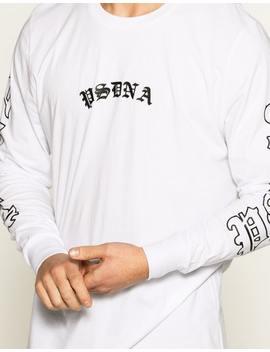 Nena & Pasadena Gothic Long Sleeve Layered Hem T Shirt In White by Hallenstein Brothers