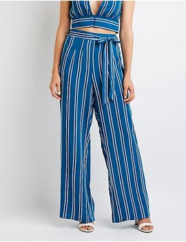 Striped Belted Palazzo Pants by Charlotte Russe