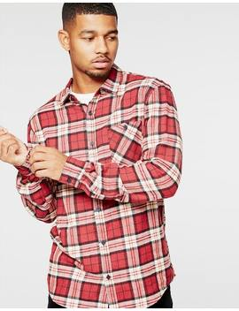 Park Sanchero Long Sleeve Check Shirt In Red by Hallenstein Brothers