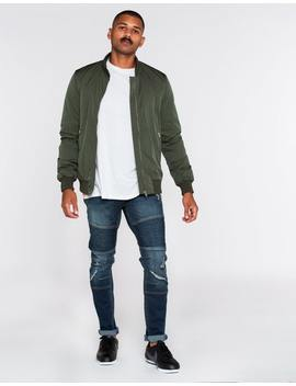 Absent Baron Hooded Bomber Jacket In Olive by Hallenstein Brothers
