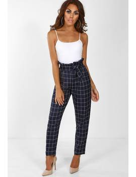 Drama Navy Check Print High Waisted Trousers by Pink Boutique