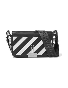 Women's Black Mini Striped Textured Leather Shoulder Bag by Off White C/O Virgil Abloh