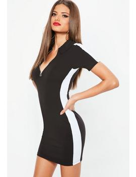 Petite Black Zip Colourblock Rugby Dress by Missguided