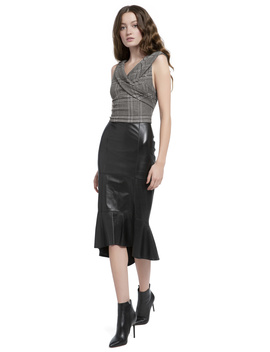 Kina Leather Ruffle Hem Pencil Skirt by Alice And Olivia