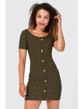 Horn Button Ribbed Bodycon Dress by Select