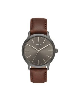 Men's Jeffrey Gunmetal With Brown Strap Watch Men's Jeffrey Gunmetal With Brown Strap Watch by Sears