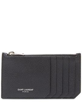 Saint Laurent Fragments Leather Zip Card Holder by Saint Laurent