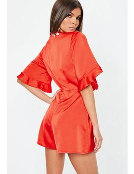 Red Satin Tie Front Kimono Sleeve Playsuit by Missguided