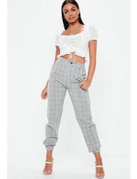 Grey Check Chain Detail Cargo Trousers by Missguided