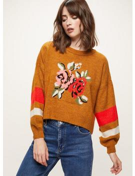 Rust Floral Jacquard Knitted Jumper by Miss Selfridge