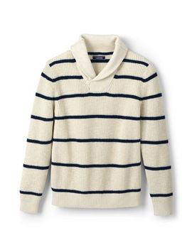 Men's Stripe Linen Cotton Texture Shawl Pullover Sweater by Lands' End