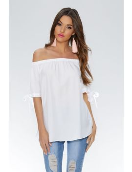 White Bardot Tie Sleeve Top by Quiz