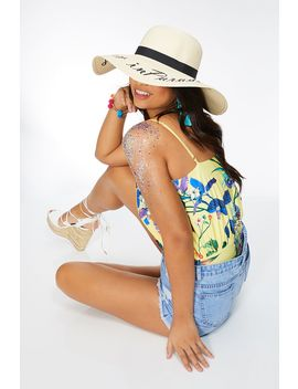 Cream Lost In Paradise Straw Hat by Quiz