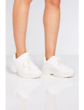 White Lace Up Chunky Trainers by Quiz