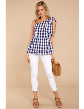 Everlasting Thought Navy Gingham Top by Aura