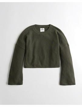 Wide Sleeve Crop Boyfriend Sweater by Hollister