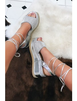 Callie Silver Metallic Diamante Flatform Wedges by Misspap