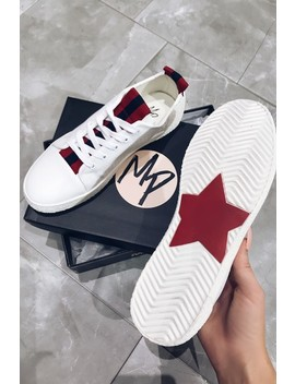 Gigi White & Red Ribbon Lace Up Trainers by Misspap