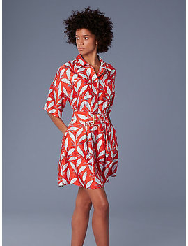 Short Sleeve Button Up Belted Shirt Dress by Dvf