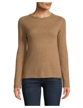 Basic Cashmere Crewneck Pullover Sweater, Camel by Neiman Marcus