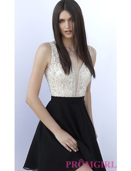 Open V Back Homecoming Dress With A Beaded Bodice by Promgirl