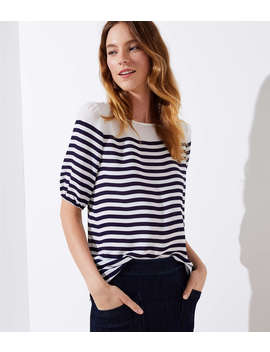 Petite Striped Elbow Sleeve Blouse by Loft