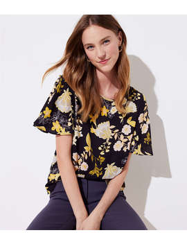 Golden Floral Covered Button Sleeve Top by Loft