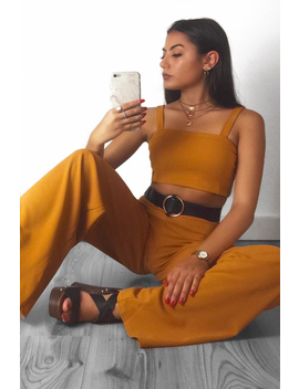 Dark Mustard Crop Top And Trousers Co Ord Set   Kimmy by Rebellious Fashion