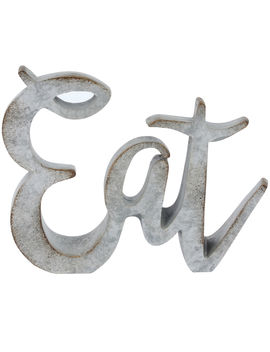 Cutout Sign Brush Gray Eat 5 X5 by At Home