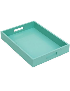 Wood Turq Rect Tray 14 X10 by At Home
