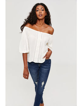 Off Shoulder Peasant Top by Ardene