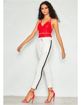 Elise White Side Stripe Drawstring Trousers by Missy Empire