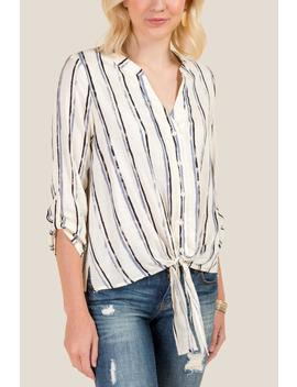 Charlie Striped Tie Front Button Down Top by Francesca's