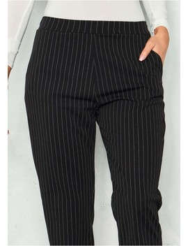 Claudia Black Pinstripe Tapered Trousers by Missy Empire