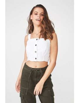 Button Through Linen Blend Crop Top by Cotton On