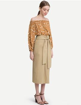 Tan Wrap Belted Midi Skirt by Pixie Market