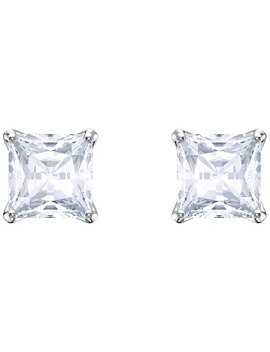 Attract Stud Pierced Earrings, White, Rhodium Plating by Swarovski Crystal