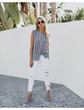 Catch Ya Later Striped Button Down Top by Vici
