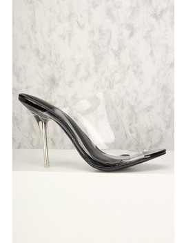 Sexy Black Clear Open Toe Single Sole High Heels by Ami Clubwear
