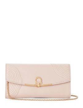 Pale Pink Gancio Embroidered Leather Shoulder Bag by Salvatore Ferragamo