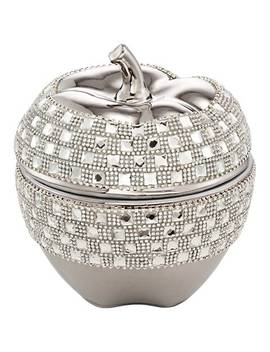 Victoire Silver And Crystal Apple Decorative Box by Lamps Plus