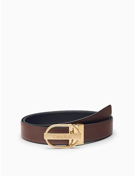 Reversible Leather Oval Buckle Belt by Calvin Klein