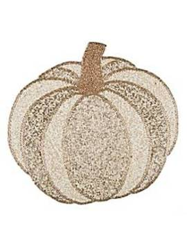 Beaded Pumpkin Placemat In White by Bed Bath & Beyond