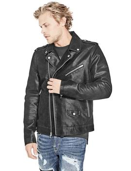 Pebbled Faux Leather Moto Jacket by Guess