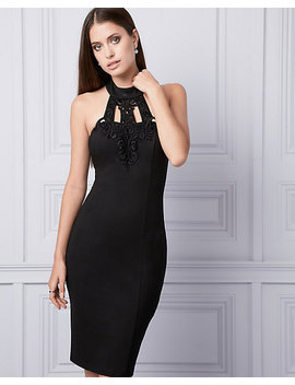 Lace & Ponte Halter Dress by Le Chateau