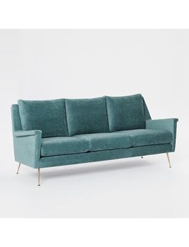 Carlo Mid Century Sofa, Worn Velvet, Dusty Teal by West Elm