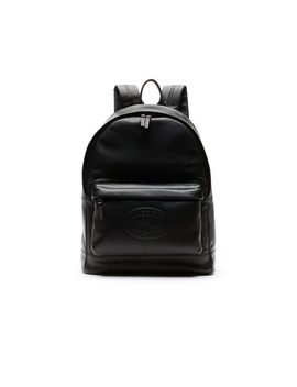 Men's L.12.12 Casual Embossed Lettering Leather Backpack by Lacoste