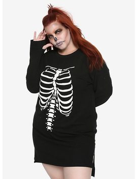 Black Rib Cage Long Sleeve T Shirt Dress Plus Size by Hot Topic